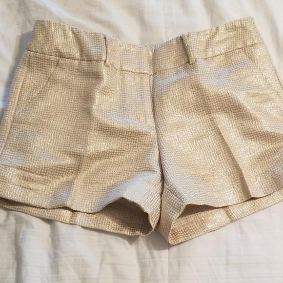 New York & Company Pants - Tailored metallic gold shorts